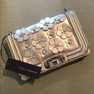 Rebecca Minkoff silver floral crossbody bag NWT